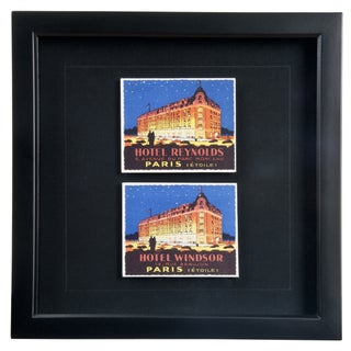Framed French Paris Hotel Luggage Labels