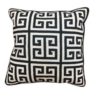 Jonathan Adler Greek Key Black and White Needlepoint Pillow