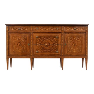 Antique English Continental-Style Inlaid Buffet