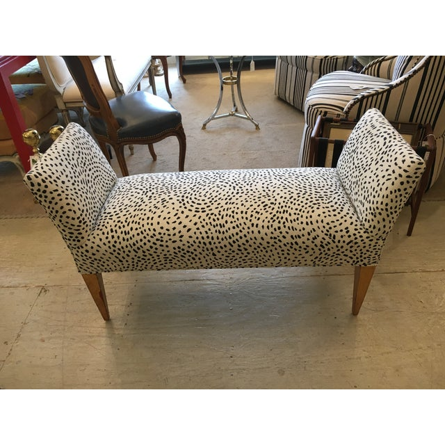 Black and cream animal print bench chairish Leopard print bench