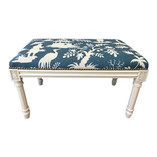 Swedish Style Bench With Chinoiserie Fabric