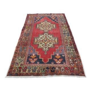 Vintage Turkish Handmade Rug - 4′4″ × 8′3″