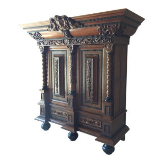 Unique, Elegant Solid Oak Dutch Carved Armoire