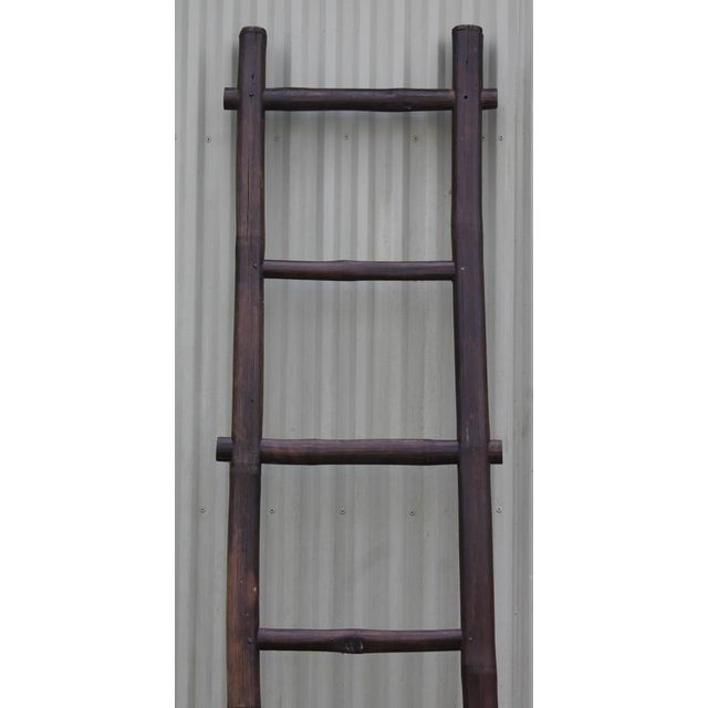 Folky 19th Century Bamboo Handmade Textile Ladder - Image 2 of 8