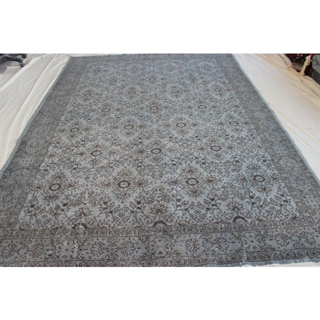 """Vintage Turkish Over-Dyed Gray Rug - 10' x 7'3"""" - Image 4 of 8"""