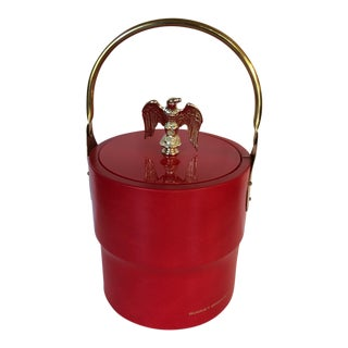 Vintage Morgan Design USA Red Vinyl & Brass Ice Bucket
