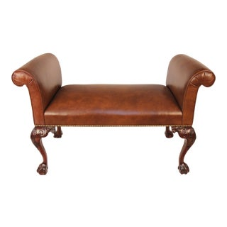 Chippendale Style Mahogany & Leather Bench