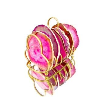 Hot Pink Sliced Brazilian Agate Coasters & Caddy - Set of 6