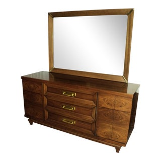 Kent Coffey Walnut Dresser & Mirror