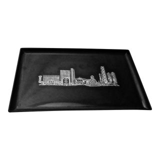 Couroc Mid-Century Abstract Chicago Skyline Serving Tray