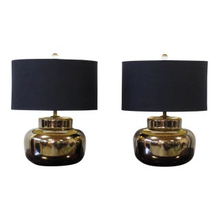 Bronze Glaze Ceramic Lamps, Pair