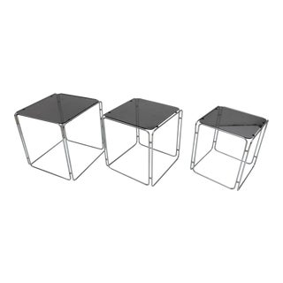 Vintage Max Sauze Chrome & Smoked Glass Nesting Tables - Set of 3