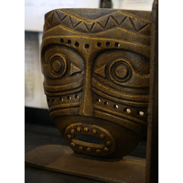 Cast Bronze Tiki Mask Bookends - Image 2 of 4