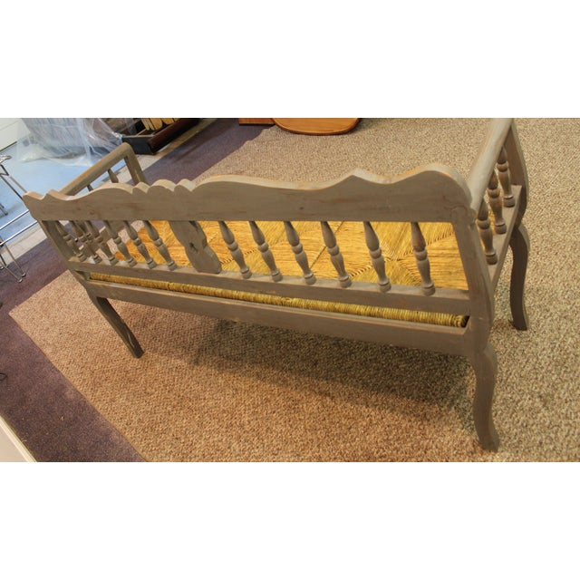 Painted Country French Triple Rush Seat Bench - Image 6 of 11