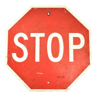 "Large 30"" Authentic Vintage Metal Stop Sign"