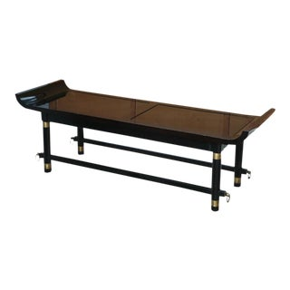 Black Lacquer and Brass-Mounted Bench, Attr. James Mont