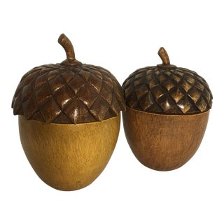 Arts & Crafts Carved Wood Acorn Lidded Boxes - A Pair
