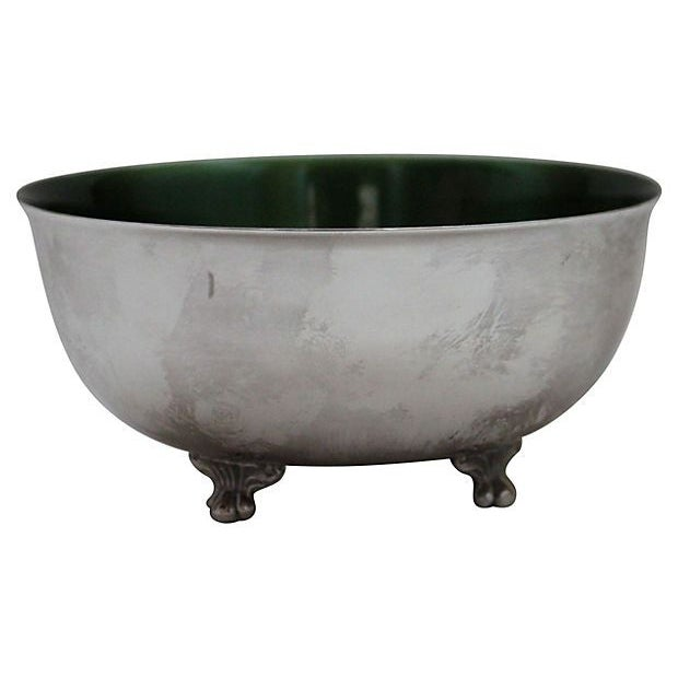 Image of Vintage Wallace Green & Silver Bowl