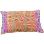 Image of Embroidered Orange Silk Pillow