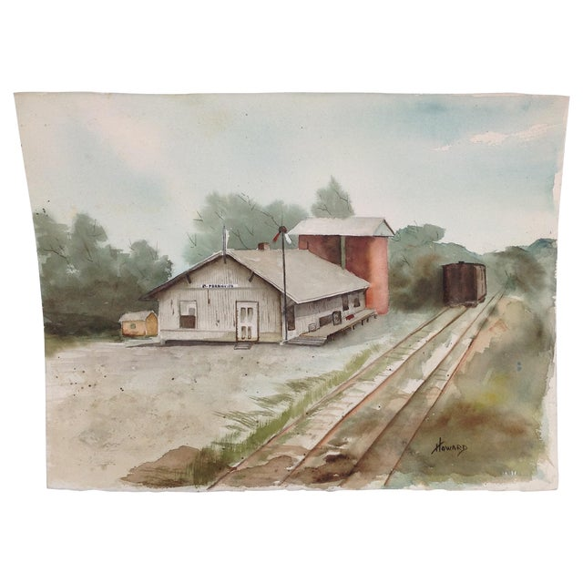 Watercolor of a Train Station - Image 1 of 5