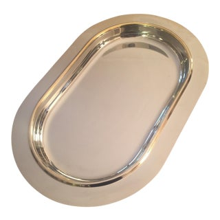 Italian Mid-Century Modern Gold Trim Stainless Steel Tray