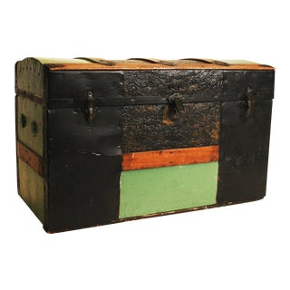 Victorian Mint Green Camelback Steamer Trunk