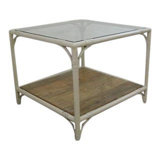 Mid-Century Metal Faux Bamboo Patio End Table