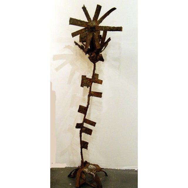 Brutalist Iron & Bronze Sunflower Sculpture Signed Faizman - Image 2 of 7