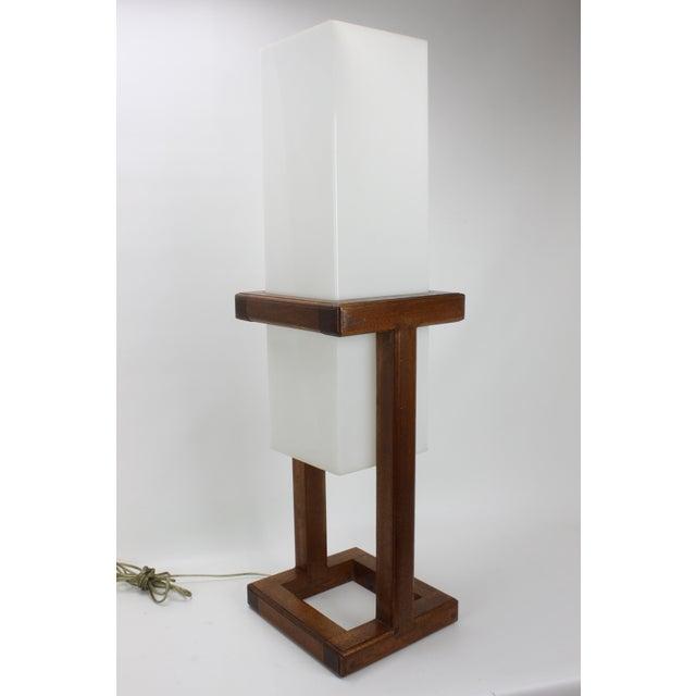 Mid-Century Large Scale Walnut & Acrylic Lamp - Image 3 of 7