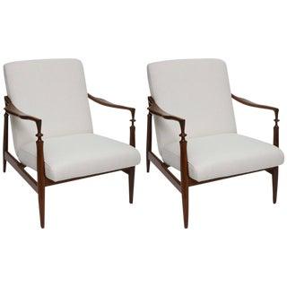 1960s Italian Walnut & Silk Lounge Chairs - A Pair