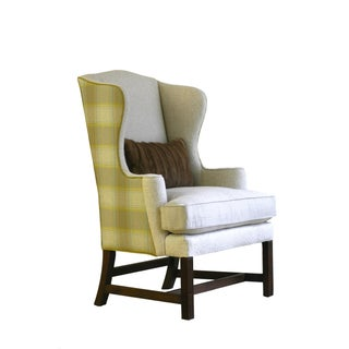 Vintage Plaid Reupholstered Wingback Chair