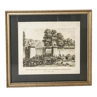 """Mr. De Lambesc Entering Tuileries with a Royal German Detachment"" Framed Antique Bookplate"