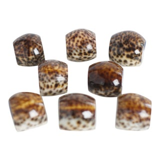 Vintage Tiger Cowrie Shell Napkin Rings- Set of 8