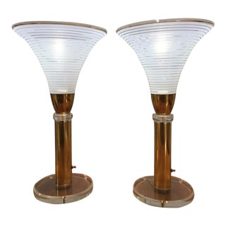 Karl Springer Hollywood Regency Brass Lucite Murano Glass Torchiere Lamps - a Pair