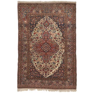 "Antique Persian Isfahan Rug - 4'10"" x 7'"
