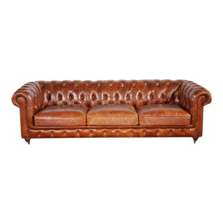 Pasargad Leather Chester Bay Tufted Sofa