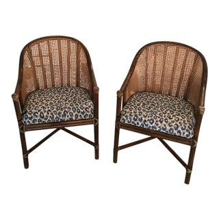 McGuire Leopard Faux Bamboo Chairs - A Pair
