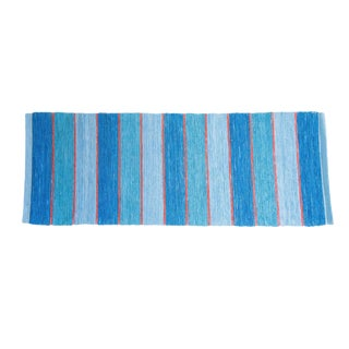 Swedish Blue Handwoven Rug - 2′6″ × 7′