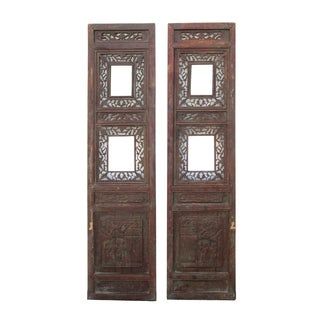 Vintage Double Window Wood Panel Decor - A Pair