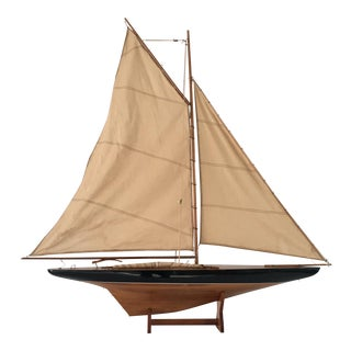 Vintage Wood & Cloth Sailboat Model with Stand