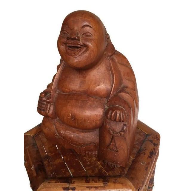 Vintage Laughing Buddha Wood Statue - Image 3 of 6