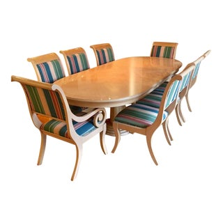Transitional Maple & Burl Inlay Dining Set