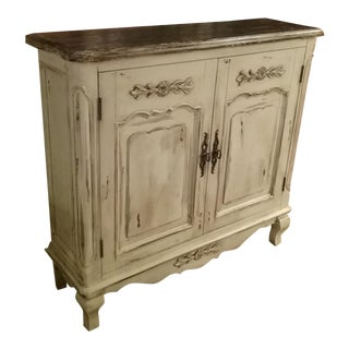 Cream Distressed Accent Entry Hall Cabinet