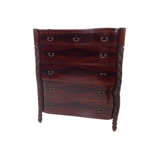 Burled Mahogany & Carved Post Highboy Dresser