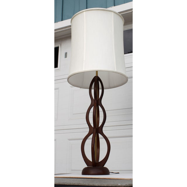 Image of Mid Century Modern Wooden Sculptural Table Lamp