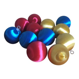 Mid Century Satin Sheen Christmas Ornaments - Set of 12