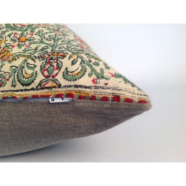 Vintage Block Print Green Kantha Pillows - A Pair - Image 4 of 4