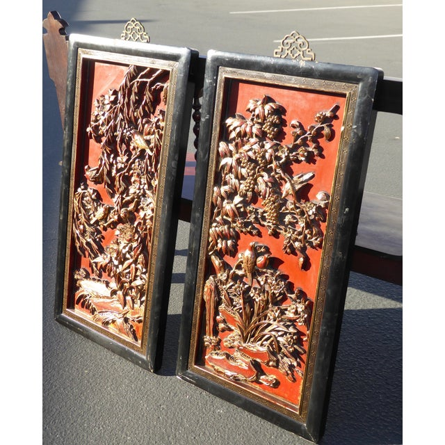 Vintage Asian Red & Gold Gilt Floral Carved Wall Panels- A Pair - Image 4 of 11