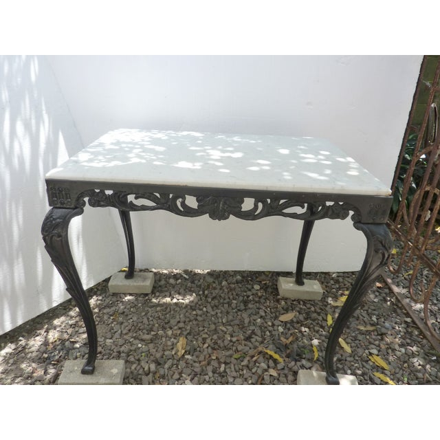Antique Cast Iron Table with Marble Top - Image 2 of 8