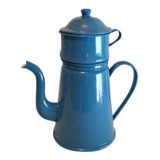 Blue Enamel Filtered French Drip Coffee Pot